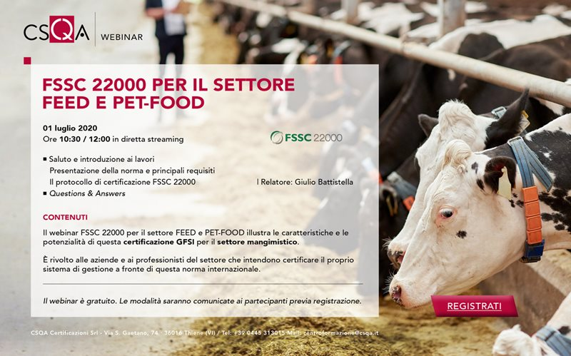 FSSC 22000 per il settore Feed e Pet-Food