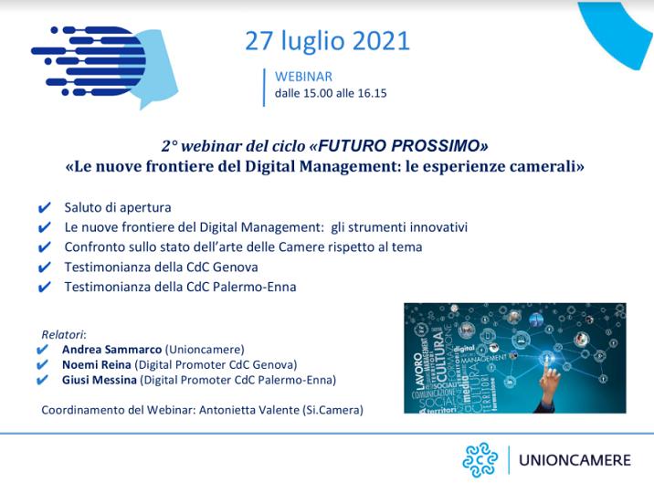 Le nuove frontiere del Digital Management: le esperienze camerali
