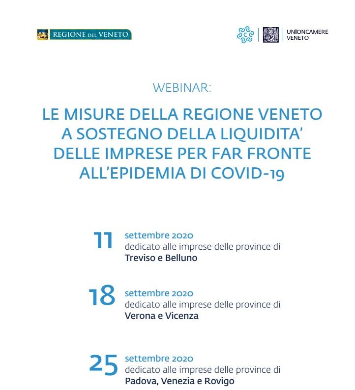 Le misure della Regione Veneto a sostegno della liquidità delle imprese per far fronte all'epidemia di Covid-19