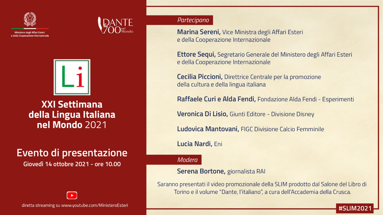 Presentazione  della XXI Settimana della Lingua Italiana nel Mondo 2021