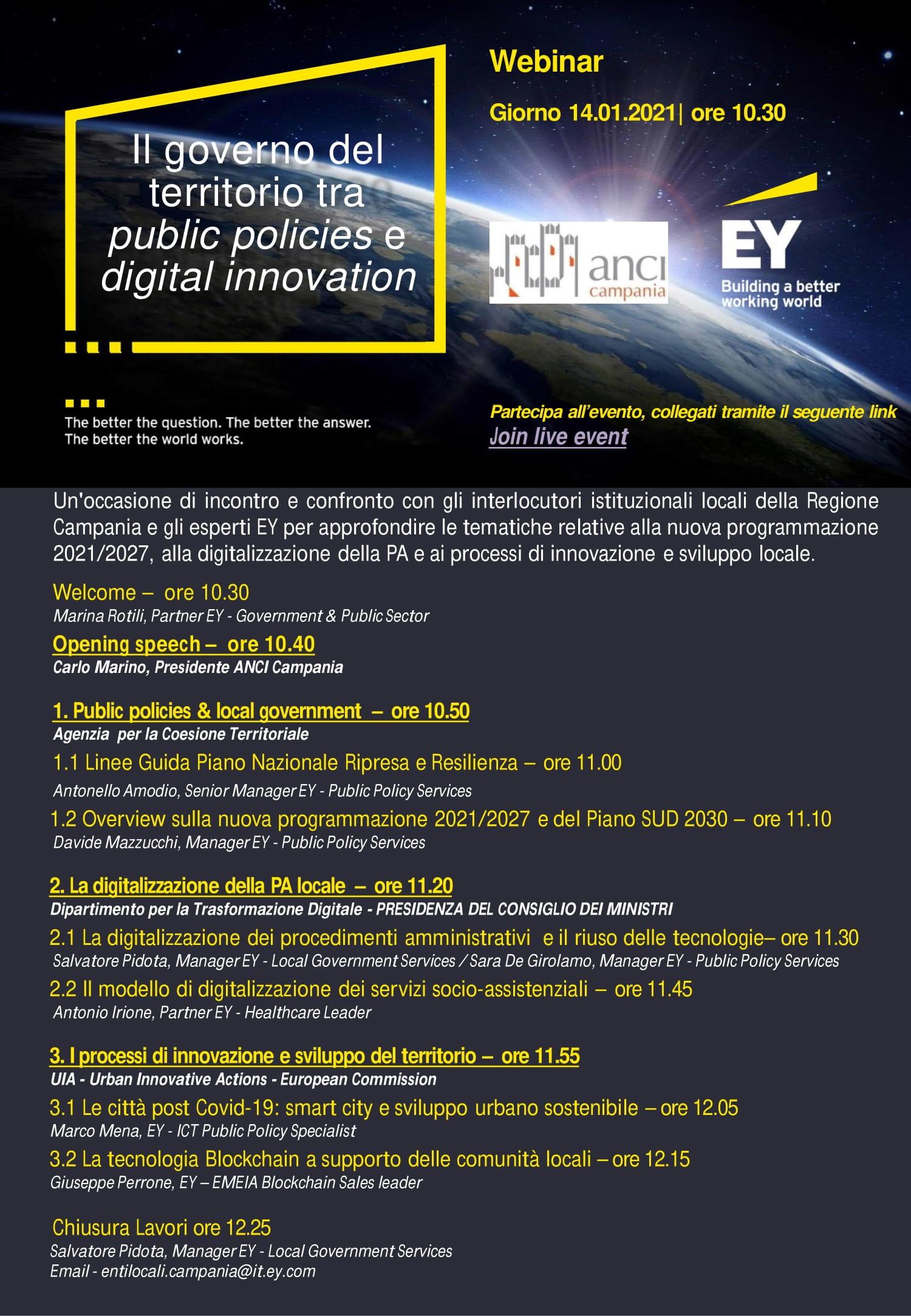 Il governo del territorio tra public policies e digital innovation