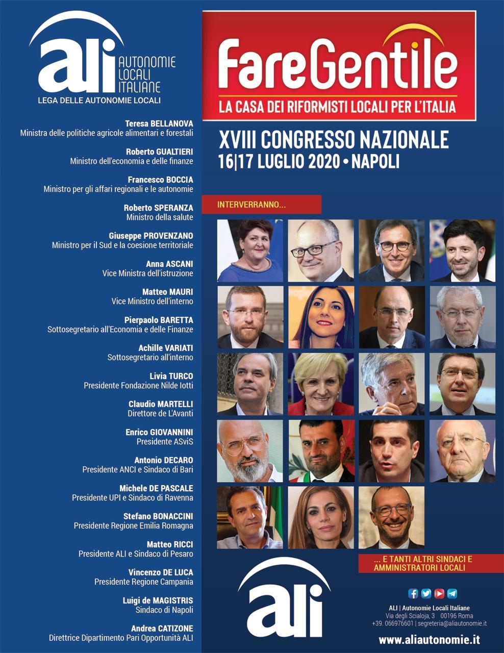 """XVIII Congresso nazionale di ALI- Autonomie Locali Italiane: """"FARE GENTILE. La casa dei riformisti locali"""
