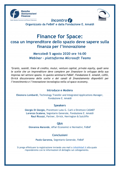 Finance for Space: cosa un imprenditore dello spazio deve sapere sulla finanza per l'innovazione