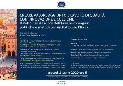 Il Patto per il Lavoro dell'Emilia-Romagna: politiche e metodi per un Patto per l'Italia