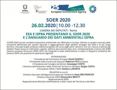 EEA e ISPRA presentano il SOER 2020 e l