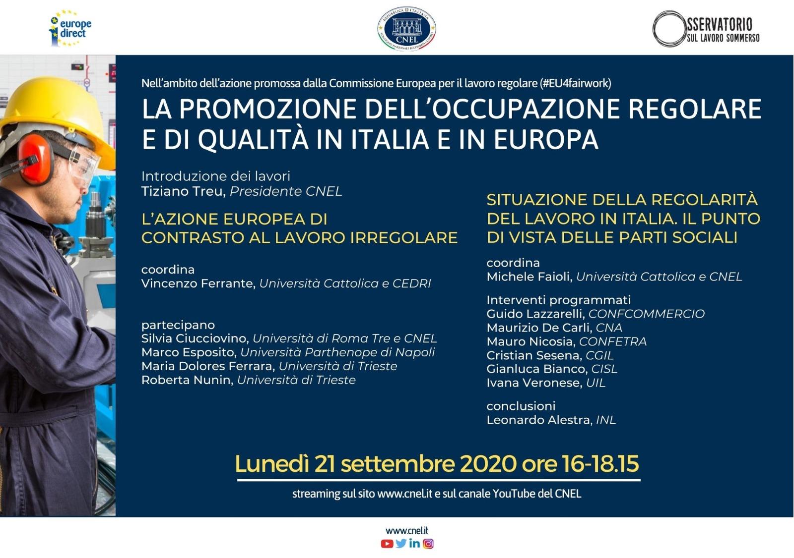 La promozione dell'occupazione regolare e di qualità in Italia e in Europa