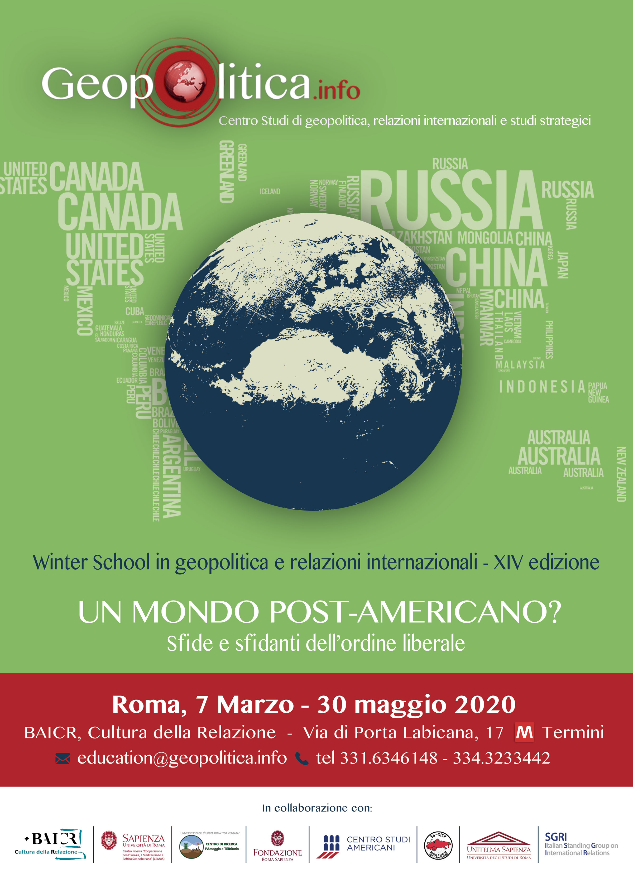 XIV Winter School  - Un mondo post-americano? Sfide e sfidanti dell'ordine liberale